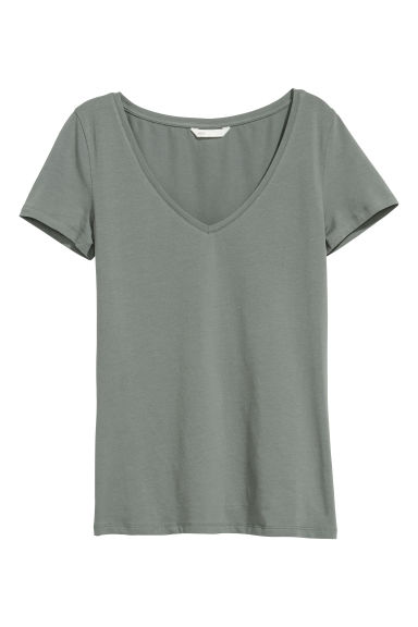 V-neck jersey top - Dusky green - Ladies | H&M