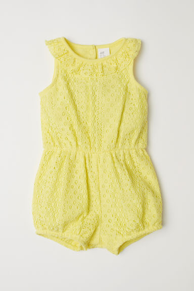 Lace romper suit - Light yellow -  | H&M CN