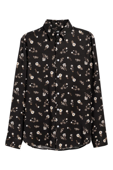 Lyocell shirt Regular fit - Black/Floral - Men | H&M