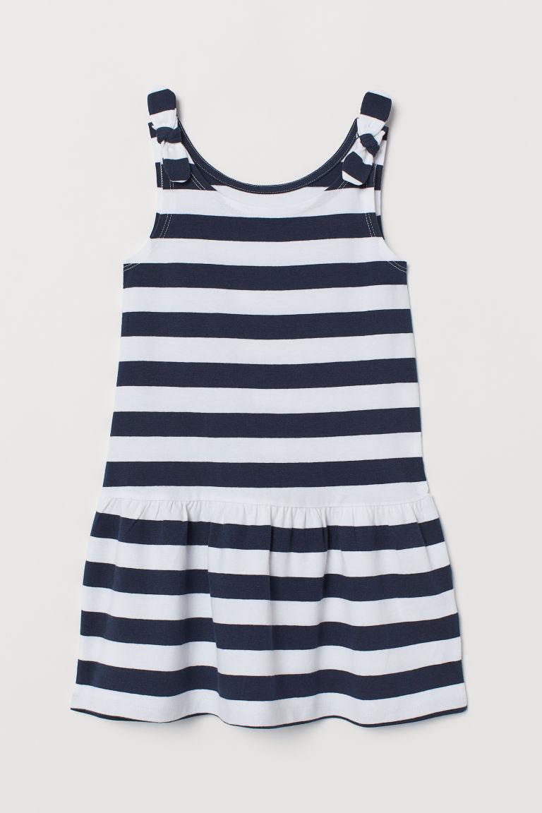 Sleeveless jersey dress - Dark blue/White striped - Kids | H&M GB