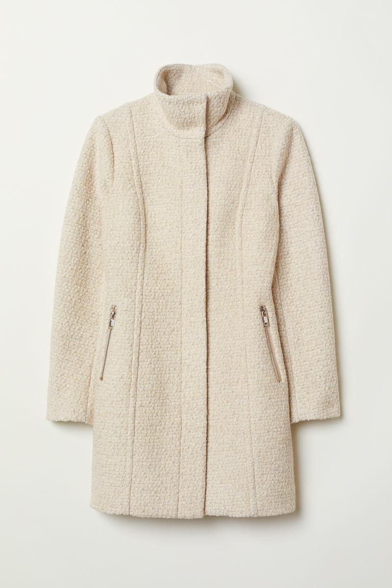 Korte jas van wolmix - Lichtbeige gemêleerd - DAMES | H&M NL 5