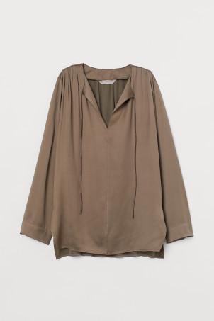 H&M 실크 혼방 셔츠 Silk-blend Blouse,Taupe