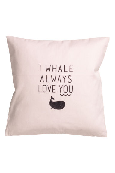 Cotton twill cushion cover - Light pink/Whale - Home All | H&M CN