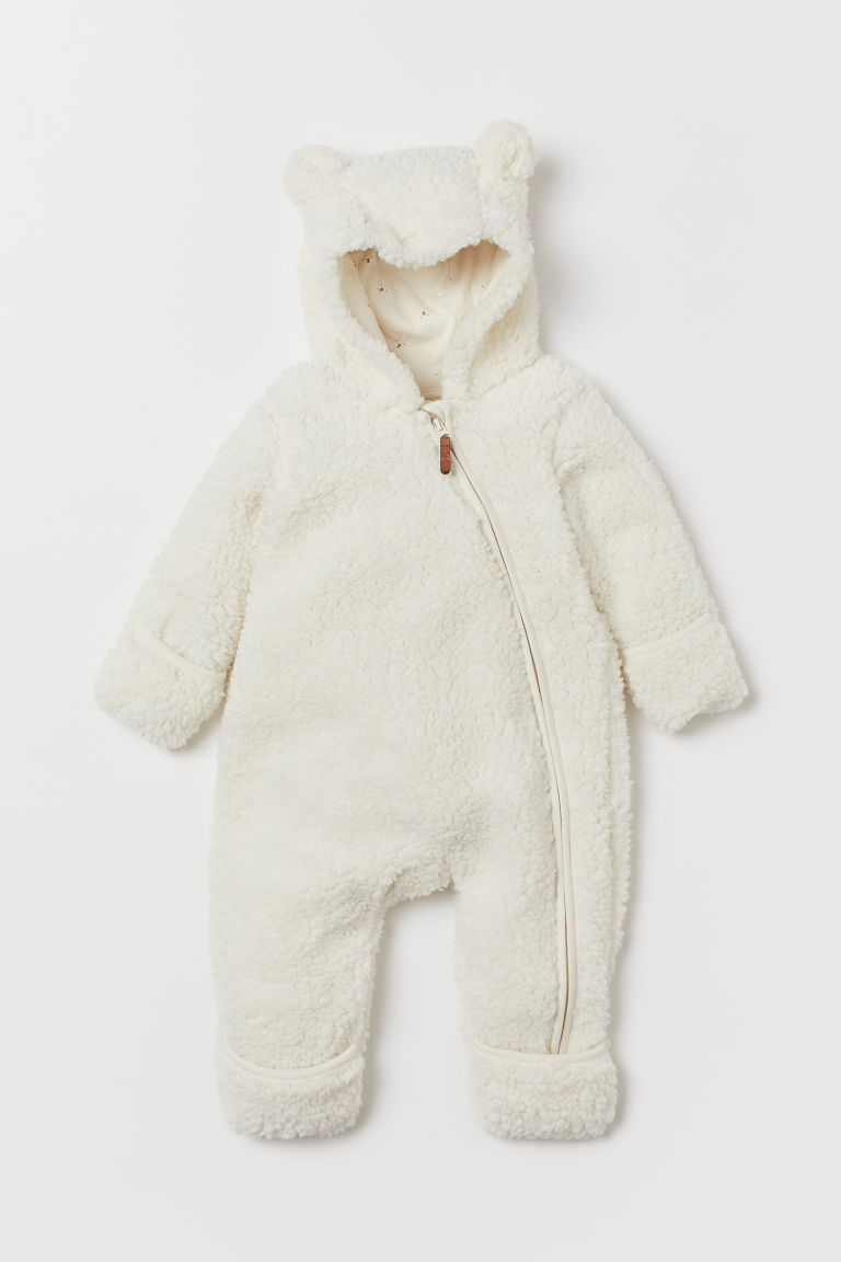 Pile all-in-one suit with ears - White - Kids   H&M GB