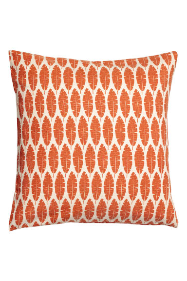 Leaf-print cushion cover - Orange/Natural white -  | H&M GB