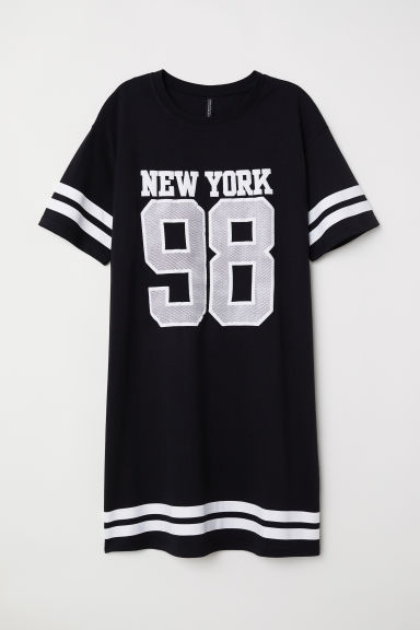 T恤连衣裙 - 黑色/New York - Ladies | H&M CN