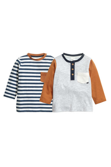 2-pack jersey tops - Light grey marl - Kids | H&M IE