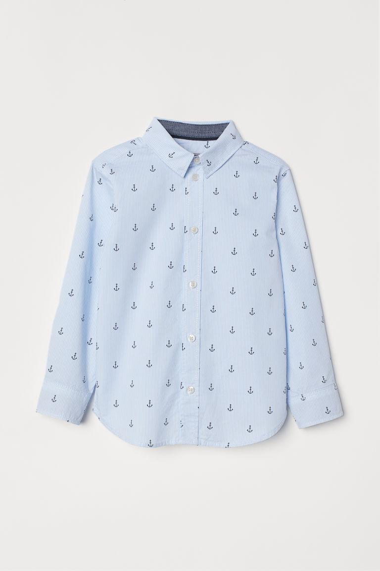 Cotton shirt - Light blue/Anchors - Kids | H&M GB