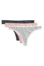 3-pack cotton thong briefs - Light grey marl - Ladies | H&M CN 2