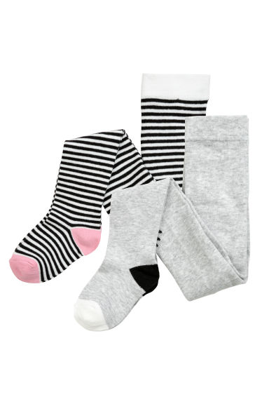 Collants, lot de 2 - Gris/rayé - ENFANT | H&M FR 1