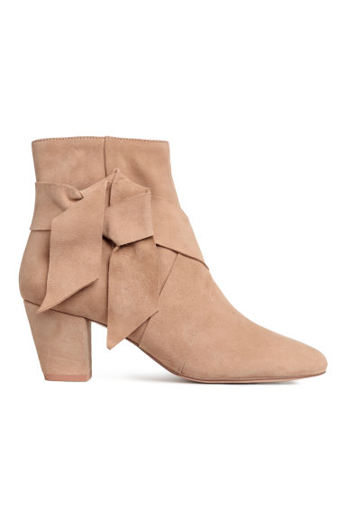 Suede ankle boots - Beige -  | H&M CN