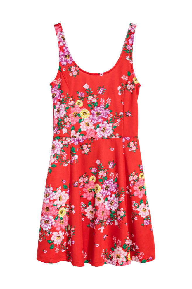 Jersey dress - Bright red/Floral - Ladies | H&M GB