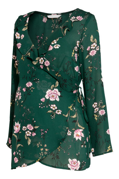 MAMA Wrapover blouse - Dark green/Floral - Ladies | H&M CN 1