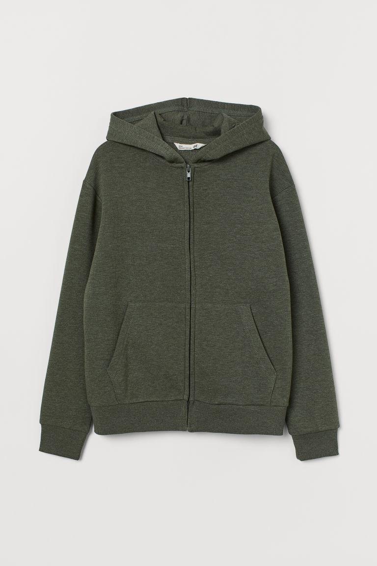 Hooded jacket - Khaki green marl - Kids | H&M GB