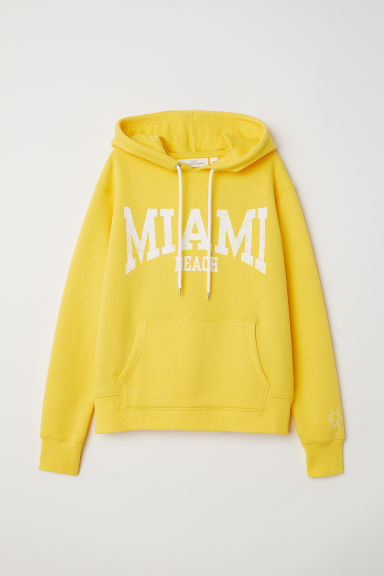 Printed hooded top - Yellow/Miami Beach -  | H&M