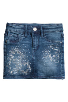 Denim skirt with sparkles