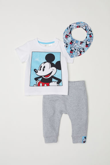 Jersey baby set - White/Mickey Mouse - Kids | H&M CN