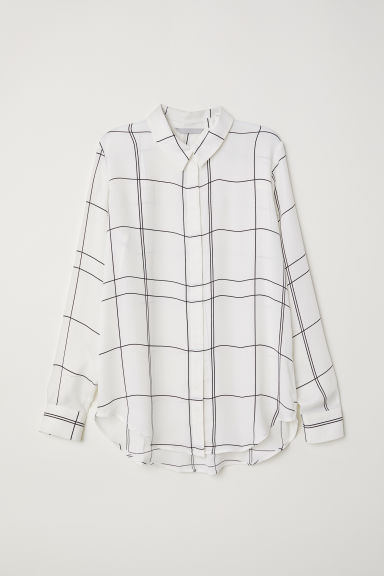Long-sleeved blouse - White/Checked -  | H&M