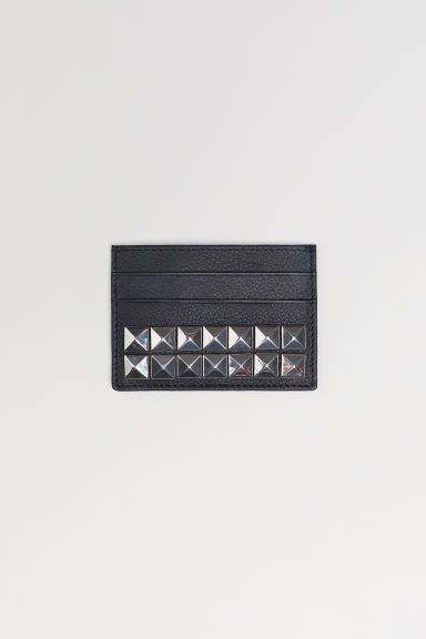 Leather card holder with studs - Black - Men | H&M