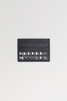 Leather card holder with studs