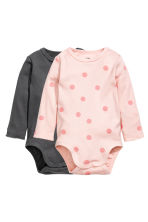 2-pack long-sleeved bodysuits - Light pink/Spotted -  | H&M GB 1