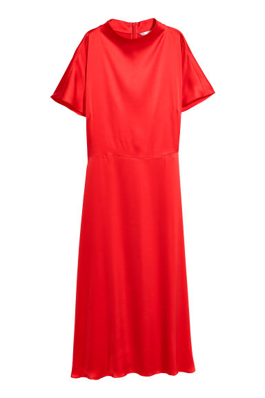 Silk dress - Bright red - Ladies | H&M CN