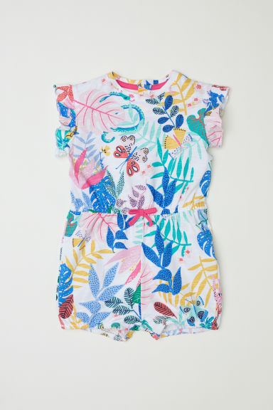 Patterned romper suit - White/Patterned - Kids | H&M CN