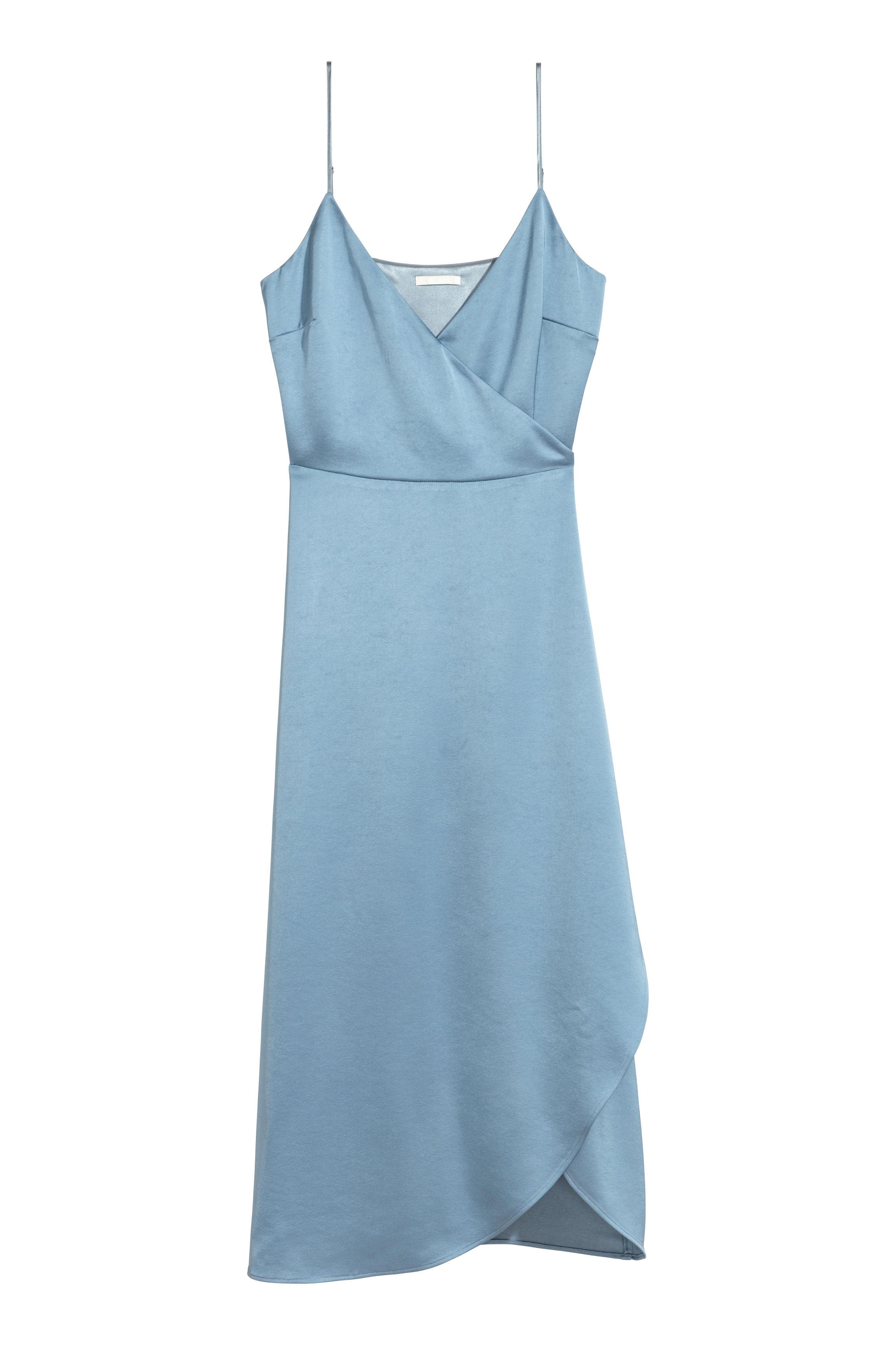 Satin wrap dress - Dusky blue - Ladies | H&M GB