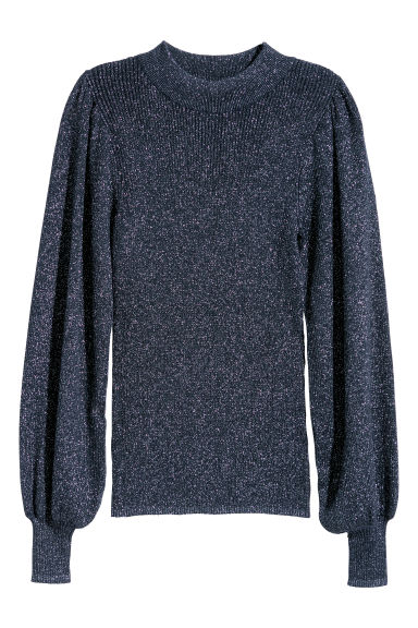 Glittery jumper - Dark blue/Glittery - Ladies | H&M GB