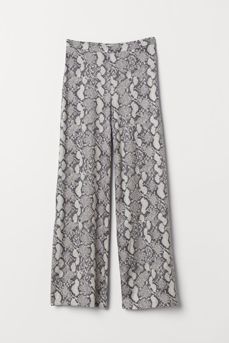 Trousers with slits - Grey/Snakeskin-patterned - Ladies | H&M GB