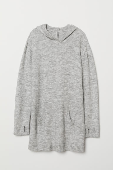 Hooded jumper - Light grey marl -  | H&M