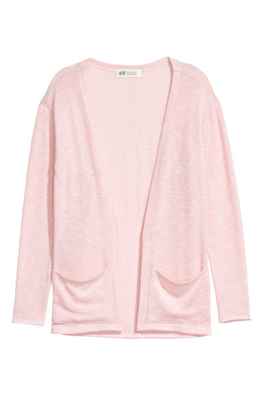 Fine-knit cardigan - Light pink marl -  | H&M