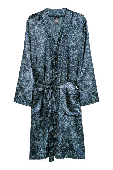 Satin dressing gown - Dark blue/Paisley patterned - Men | H&M CN