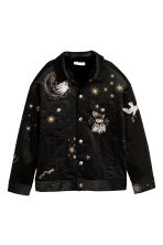 Fully lined corduroy jacket - Black/Embroidery - Ladies | H&M 2