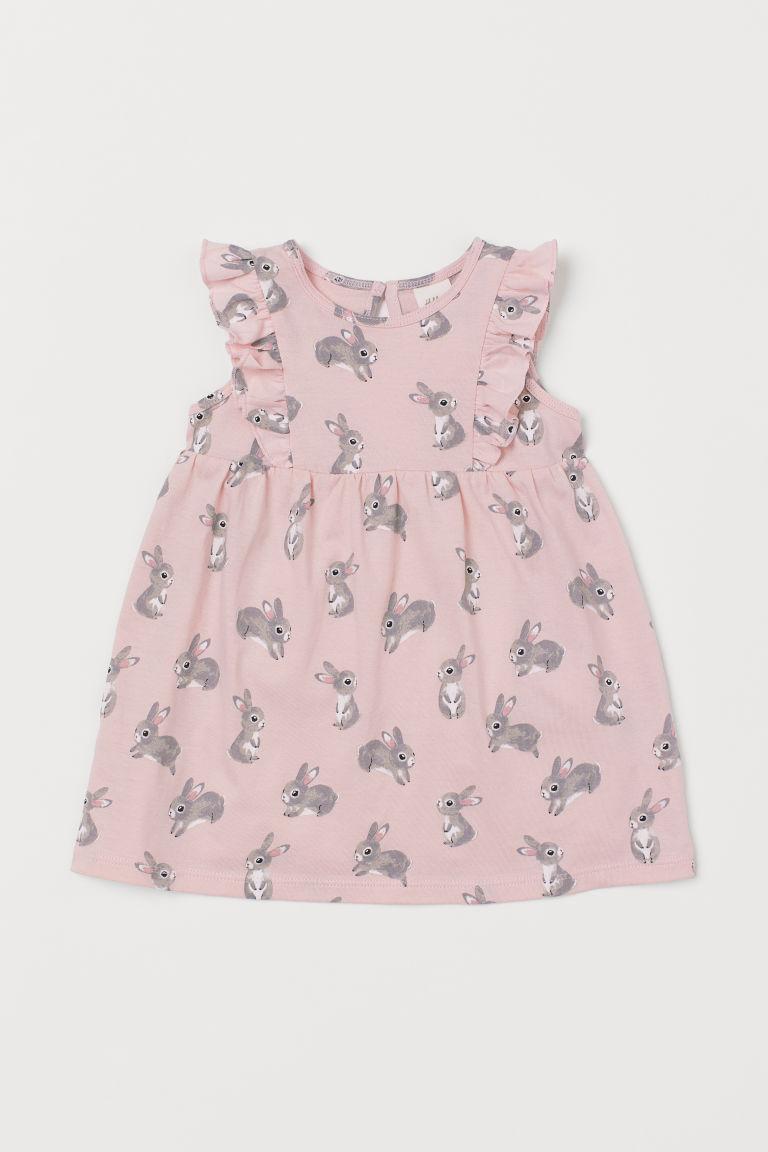 Flounce-trimmed cotton dress - Light pink/Rabbits - Kids   H&M GB