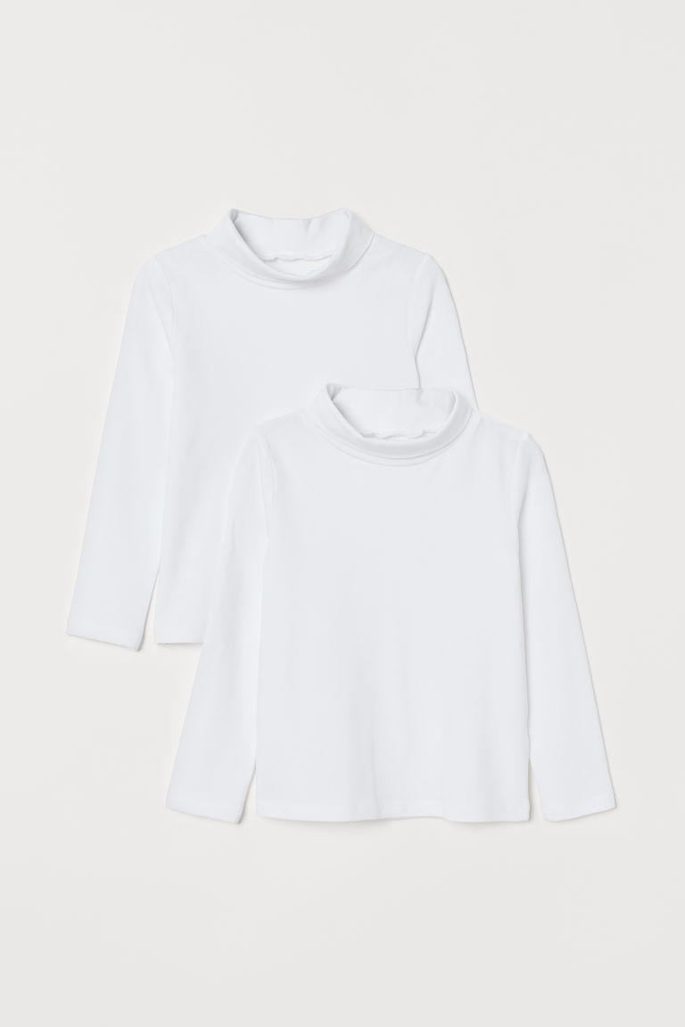 2-pack cotton polo-neck tops - White - Kids | H&M GB