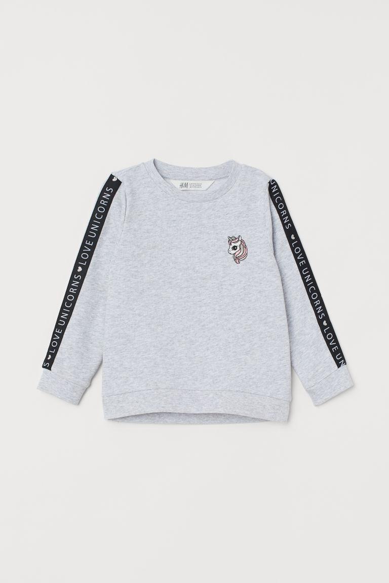 Sweatshirt with a motif - Light grey marl/Unicorn - Kids   H&M GB