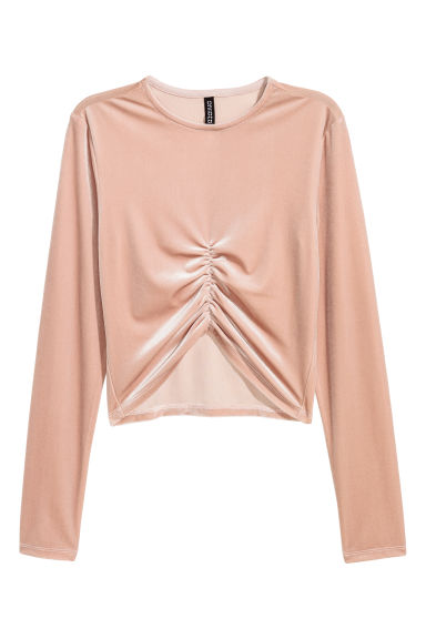 Short velour top - Powder pink -  | H&M