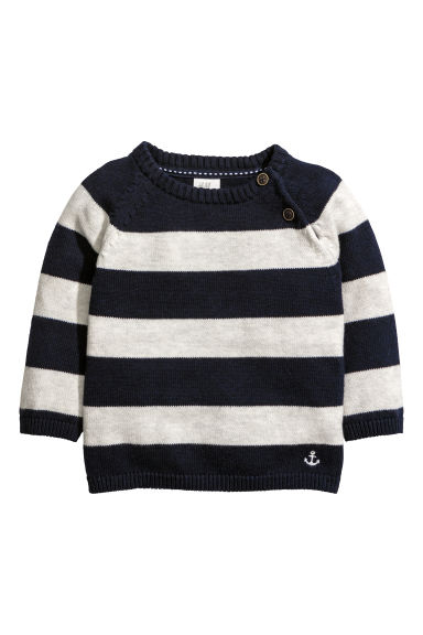 Fine-knit cotton jumper - White/Blue striped - Kids | H&M CN