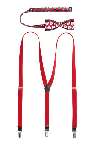 Bow tie and braces - Red/Snowmen -  | H&M