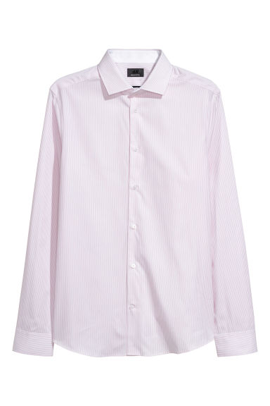 Premium cotton shirt - Pink/White striped - Men | H&M IE