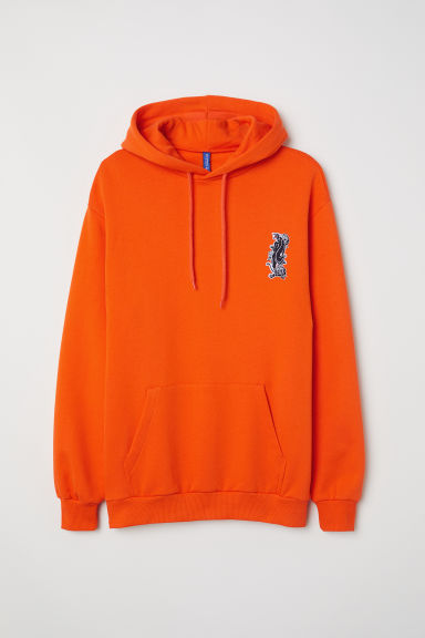 Printed hooded top - Orange/Jaguar -  | H&M CN