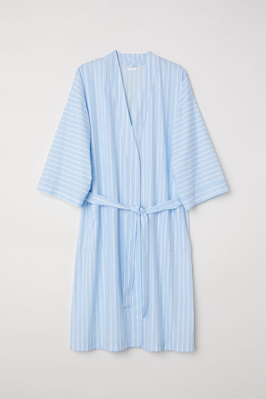 Cotton percale dressing gown - Light blue/White striped - Home All | H&M CN