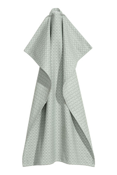 Jacquard-weave tea towel - Dusky green/Patterned - Home All | H&M CN