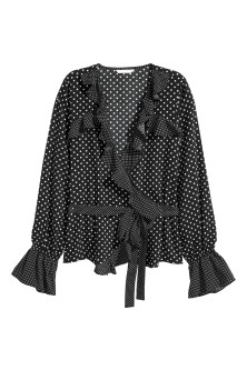 Frilled wrapover blouse