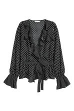 Frilled wrapover blouse - Dark blue/White spotted - Ladies | H&M 2