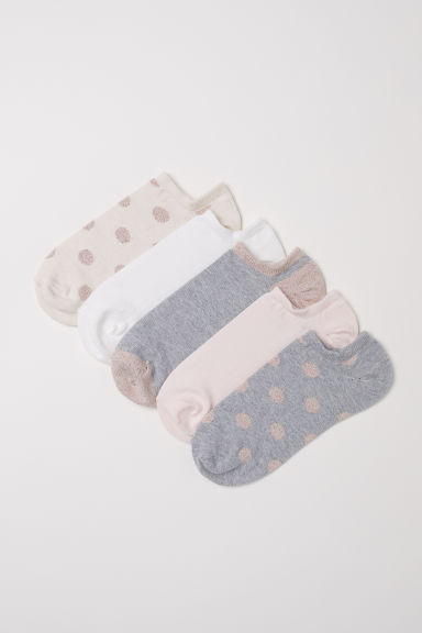 5-pack trainer socks - Grey/Glittery - Ladies | H&M