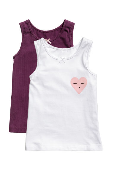 Canotte in jersey, 2 pz - Viola scuro - BAMBINO | H&M IT