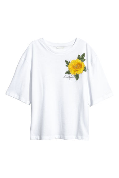 Wide T-shirt - White/Flower - Ladies | H&M IE