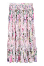 Pleated skirt - Light pink/Floral - Ladies | H&M 2